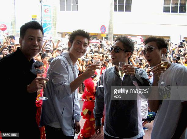 Hong Kong actorsinger Edison Chen gestures after launching a branch of Juice on June 20 2009 in Kuala Lumpur of Malaysia Hong Kong brand Clot opened...