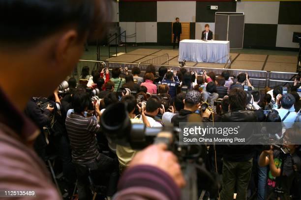 Hong Kong actorsinger Edison Chen Koonhei faces the media at a press conference at 6/F Kowloon Bay Exhibition Centre Kowloon Bay 21 FEBRUARY 2008