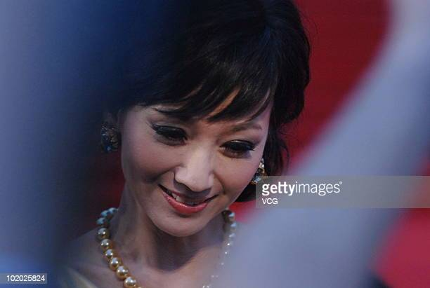 Hong Kong actress Angie Chiu poses on the red carpet during the 13th Shanghai Film Festival on June 12 2010 in Shanghai of China