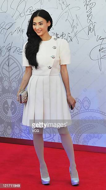 Hong Kong actress Cecilia Cheung attends Liulaogen Guild Hall opening ceremony on August 16 2011 in Beijing China