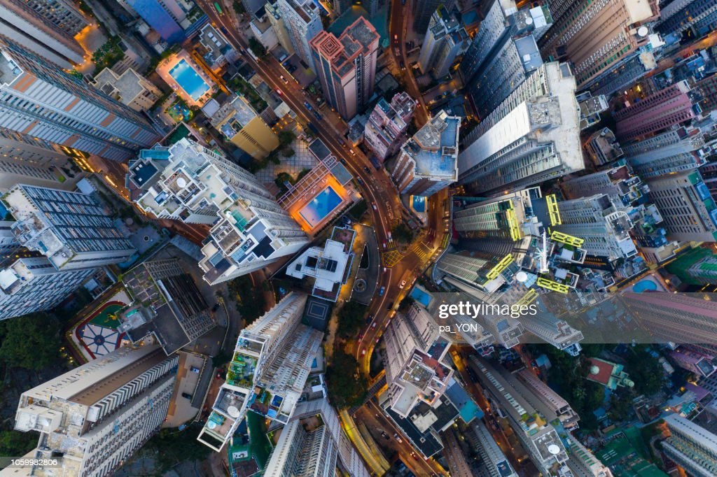Hong Kong Aerial scene in night, with road and traffic : Stock Photo