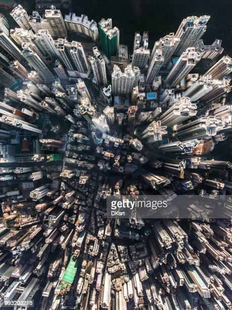 vue aérienne de hong kong - explosion démographique photos et images de collection