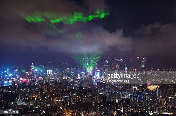 Hong Kong aerial view symphony of laser lights show at night