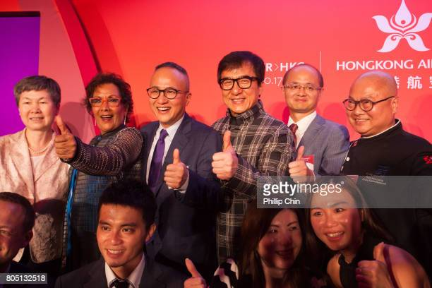 Hong Kong Airline's Chief Marketing Office George Liu and Jackie Chan attends the VIP Hong Kong Airline's reception at the Fairmont Pacific Rim on...
