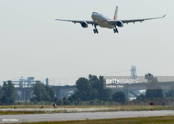 Hong Kong Airlines inaugural flight HX80 carrying actor and martial artist Jackie Chan lands at Vancouver International Airport on June 30 2017 in...