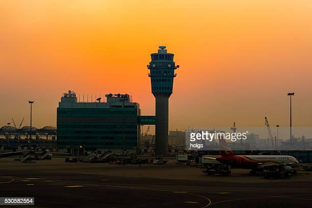 Hong Kong Airport during sunset