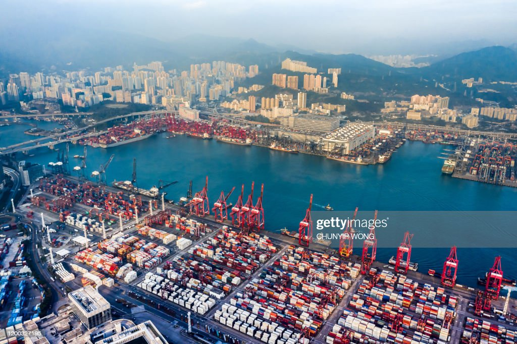Hong Kong and Container Cargo freight ship : Stock Photo