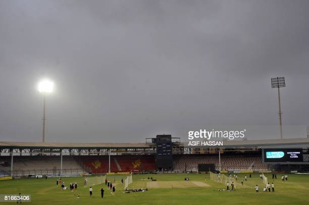 Hong Kong and Pakistani cricket teams take part in the practice session at The National Stadium in Karachi on June 22, 2008. Pakistan take on Hong...