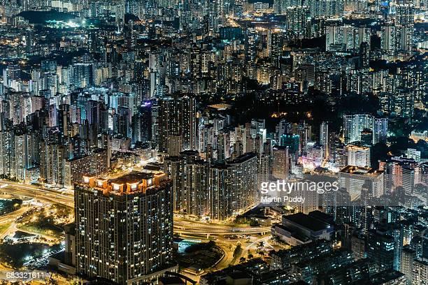 Hong Kong, apartment buildings at night