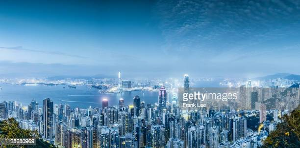 hong kong at night - wide shot stock pictures, royalty-free photos & images