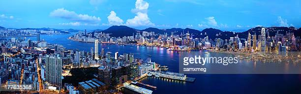 hong kong at night - star ferry stock photos and pictures