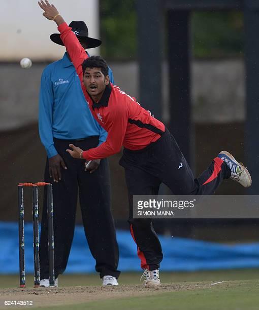 Hong Kong batsman Anshuman Rath delivers a ball during the ICC World Cricket League Kenya vs Hong Kong on November 18 2016 at the Gymkhana Club in...