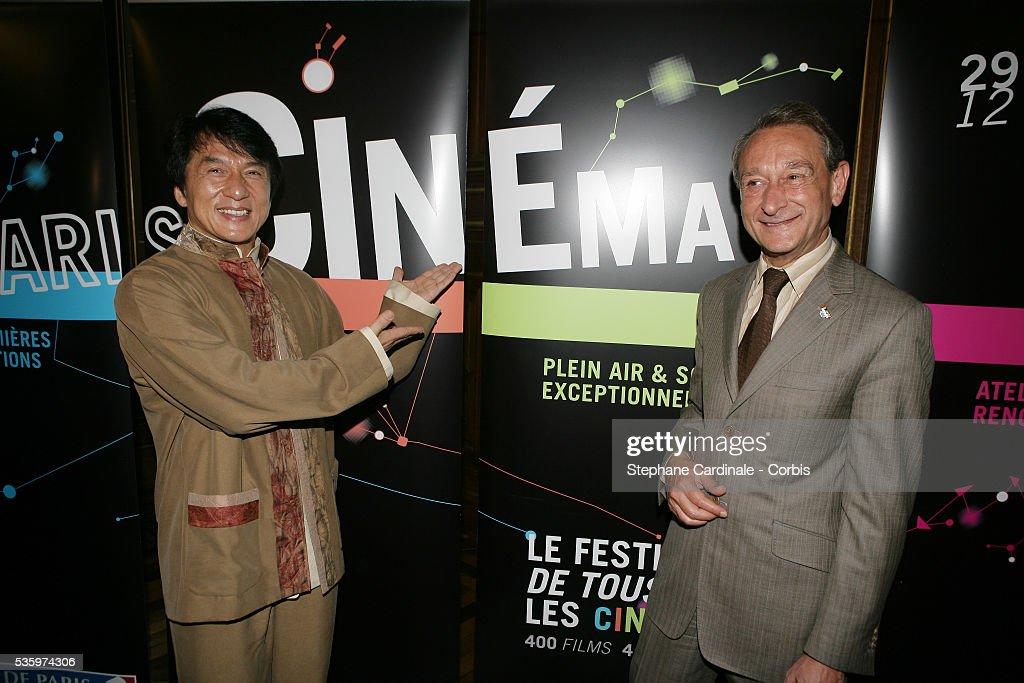 Hong Kong born martial arts actor, Jackie Chan receives 'La Medaille Grand Vermeil de la Ville de Paris' from Paris Mayor, Bertrand Delanoe.
