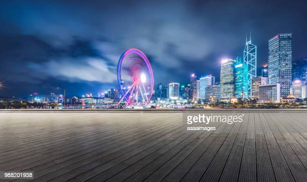 hong kong business district with wooden plank - boardwalk stock pictures, royalty-free photos & images