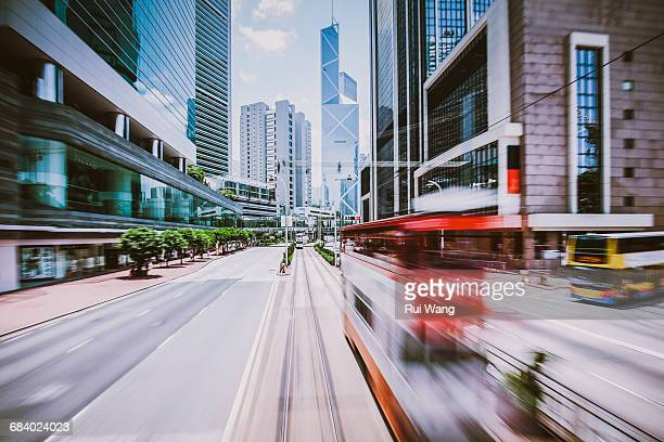 Hong Kong business towers and traffic