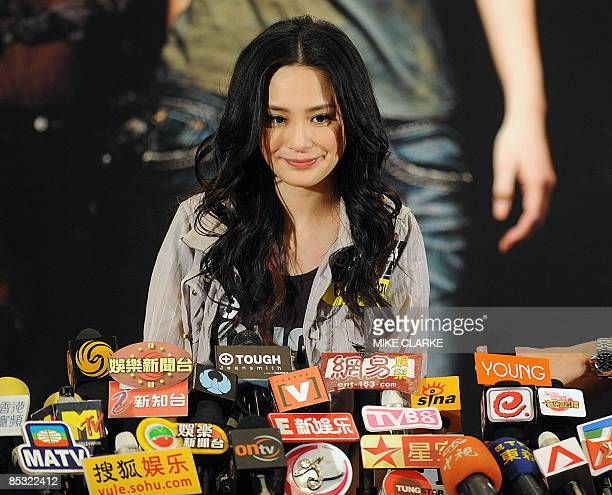 Hong Kong Cantopop singer Gillian Chung appears at a press conference shortly after a promotional event in Hong Kong on March 10 2009 Cantopop star...