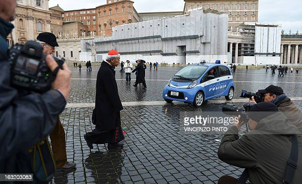 Hong Kong cardinal Joseph Zen Ze-Kiun walks on St Peter's square after a pre-conclave meeting on March 6, 2013 at the Vatican.The Vatican on...
