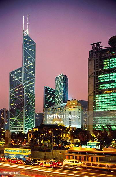 hong kong, central, city skyline with bank of china, dusk - 20th century stock pictures, royalty-free photos & images