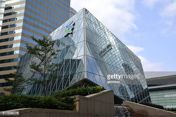 hong kong central reflections - trapezoid stock pictures, royalty-free photos & images