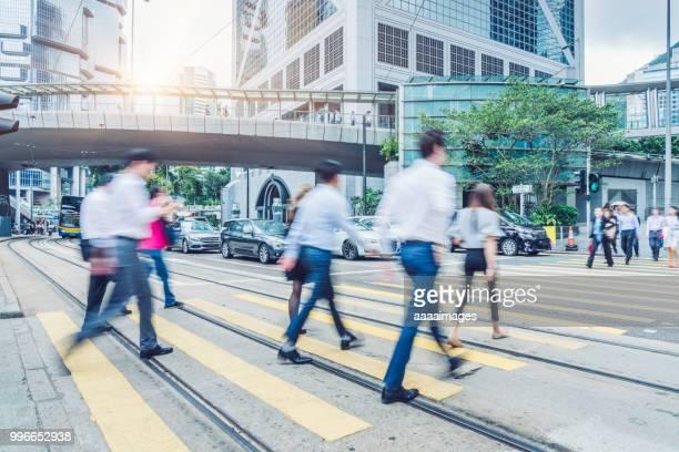 hong kong central streetscape,city life - strisce pedonali foto e immagini stock