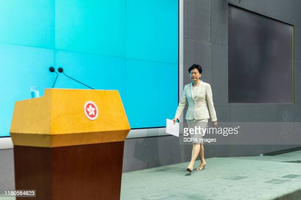 Hong Kong Chief Executive Carrie Lam arrives to speak at a press conference at the government headquarters in Hong Kong Carrie Lam apologised for the...