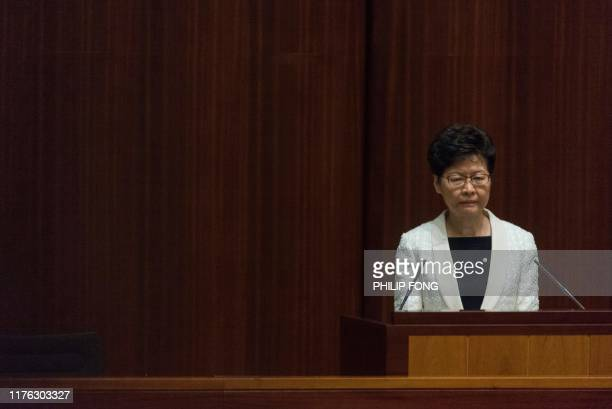 Hong Kong Chief Executive Carrie Lam attends a question and answer session at the Legislative Council in Hong Kong on October 17, 2019. - Hong Kong's...