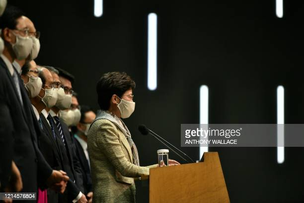 Hong Kong Chief Executive Carrie Lam holds a press conference after attending the opening session of the National People's Congress at the Great Hall...
