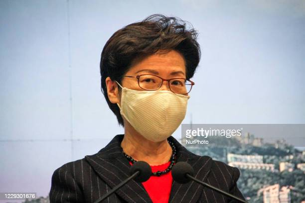 Hong Kong Chief Executive Carrie Lam holds her weekly press conference at the Central Government Offices, Hong Kong, 27th October 2020
