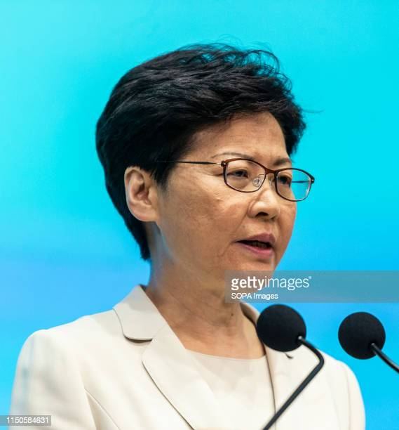 Hong Kong Chief Executive Carrie Lam speaks during a press conference at the government headquarters in Hong Kong Carrie Lam apologised for the...