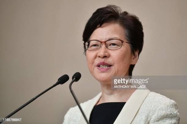 Hong Kong Chief Executive Carrie Lam speaks to the media during her weekly press conference in Hong Kong on September 3, 2019. - Hundreds of...