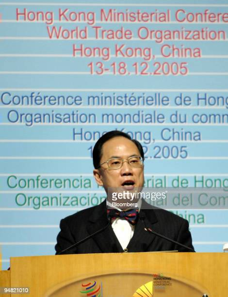 Hong Kong Chief Executive Donald Tsang speaks to guests at the opening ceremony of the World Trade Organization meeting in Hong Kong China Tuesday...