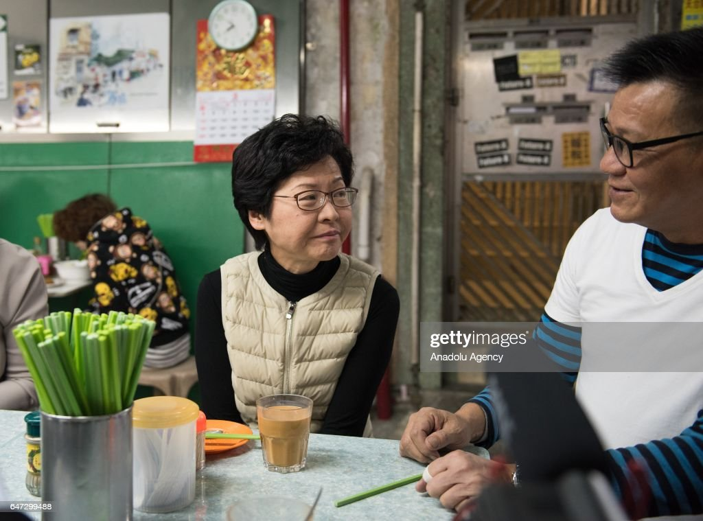 Hong Kong Chief Executive election candidate Carrie Lam on campaign trail : News Photo