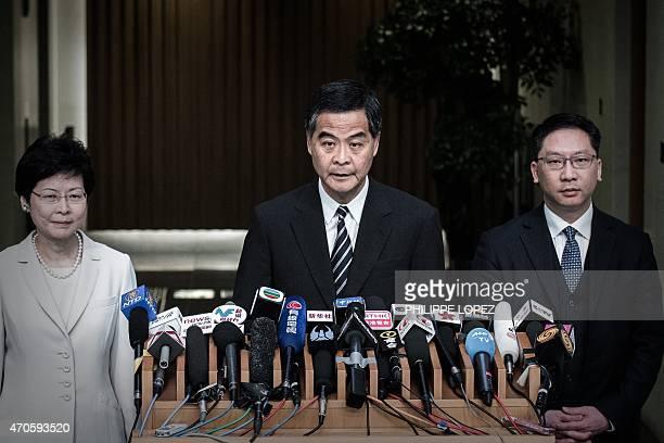 Hong Kong Chief Executive Leung Chunying addresses a press conference in Hong Kong on April 22 2015 Hong Kong's government announced a roadmap for...