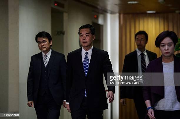 Hong Kong Chief Executive Leung Chunying arrives for a press conference in Hong Kong on December 9 2016 Hong Kong's unpopular leader Leung said that...