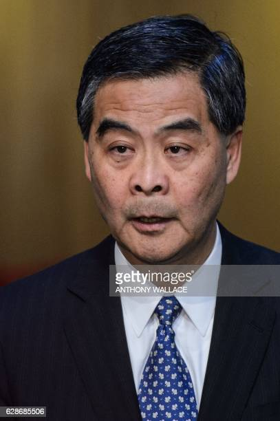 Hong Kong Chief Executive Leung Chunying holds a press conference in Hong Kong on December 9 2016 Hong Kong's unpopular leader Leung said that he...