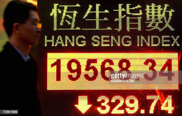 A man walk past a electric board displaying the Hong Kong share index 10 January 2006 Share prices closed 166 percent lower in Hong Kong extending a...