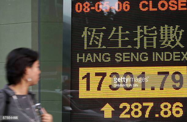 A woman walks past an electronic screen displaying the Hang Seng Index in Hong Kong 08 May 2006 Hong Kong share prices closed sharply higher with the...