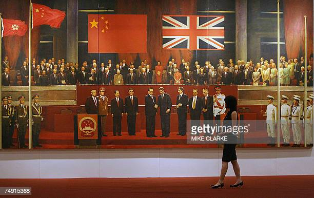 Celebration of the Century painted in 1998 by four Chinese artists showing the reunification ceremony between Hong Kong and China in 1997 is seen on...