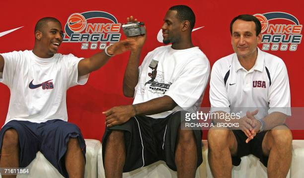 Coach of the USA team headed to the World Basketball Championships in Japan later this month Mike Krzyzewski looks on as star player swingman LeBron...