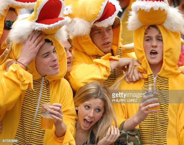 Fans have fun at the Hong Kong Rugby Sevens tournament at Hong Kong Stadium 01 April 2006 The 24team event will culminate in the Cup Final later in...