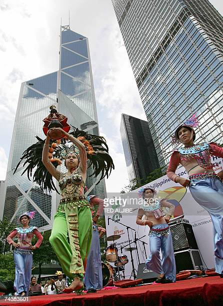 Filipina dancers perform at the Chater Gardens area of downtown Hong Kong 03 June 2007 as part of Philippines Independence Day celebrations...