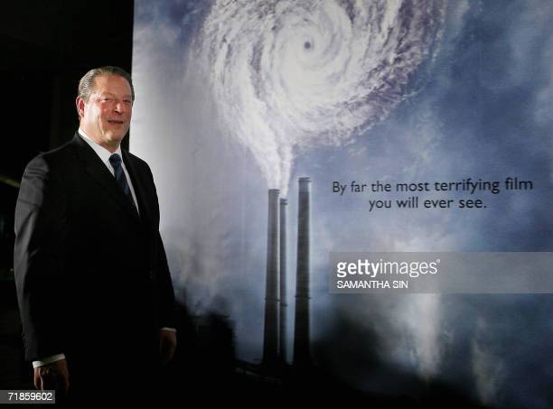 Former US vice president Al Gore speaks during a press conference to promote the movie An Inconvenient Truth in Hong Kong 12 September 2006 Gore is...