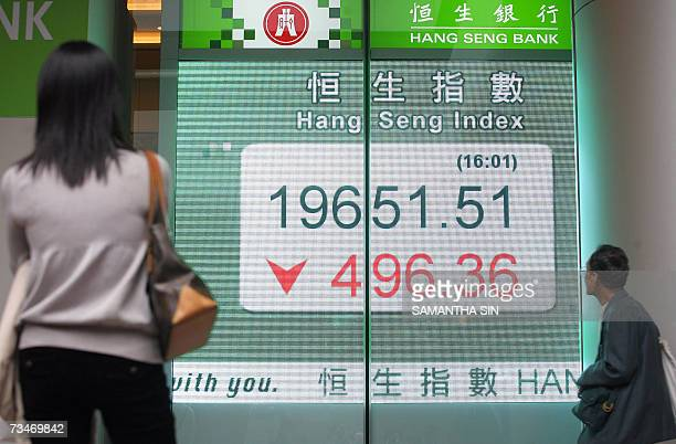 People look at a board displaying the Hang Seng Index outside a bank in Hong Kong, 28 February 2007. Hong Kong share prices closed sharply lower,...