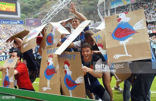 The French rugby sevens team have fun protecting themselves with shields because they say they are always getting booed by the crowd at the Hong Kong...