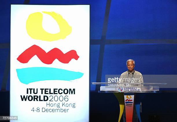 The Nobel Prize Laureate and Managing Director of Grameen Bank Professor Muhammad Yunus delivers a speech during the opening ceremony of the...
