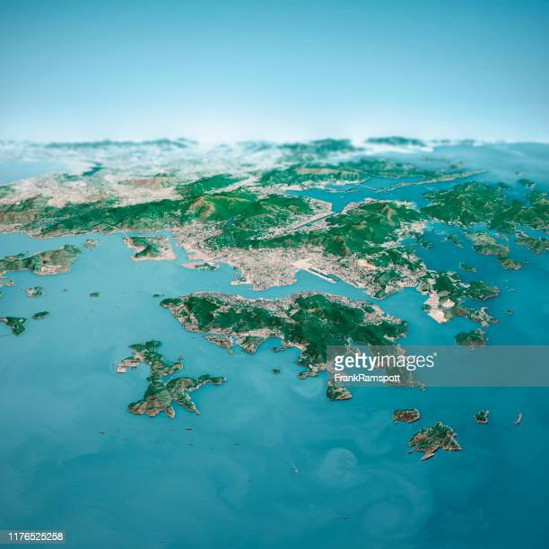 hong kong city 3d render aerial horizon view from south jan 2019 - frankramspott stock pictures, royalty-free photos & images
