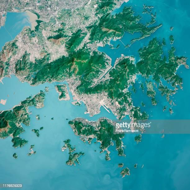 vista superior aérea de renderización en 3d de la ciudad de hong kong desde el sur enenero 2019 - asia pacífico fotografías e imágenes de stock