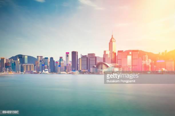 Hong Kong city from kowloon, Hong Kong Special Administrative Region of the People's Republic of China. Hong Kong skyline