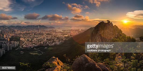 Hong Kong city from Lion Rock mountain