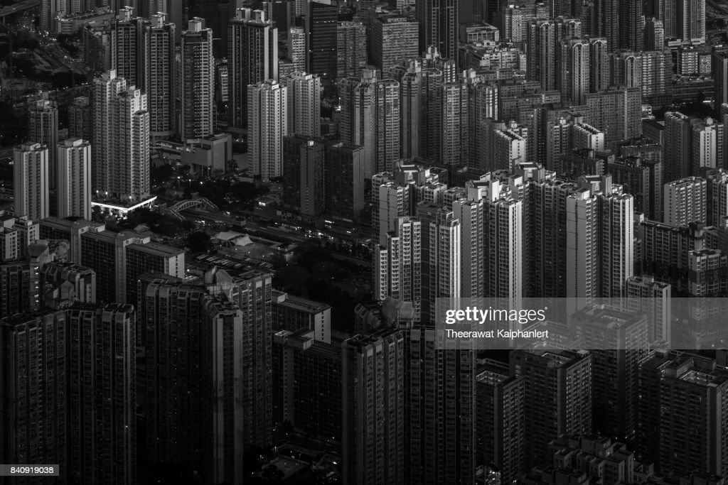 Hong Kong city in black and white : Stock Photo
